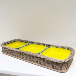 Set van 3 serveerschaaltjes in gevlochten mand