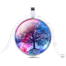 Tree of Life Roze / Blauw ketting