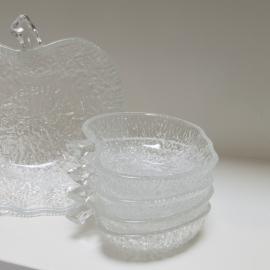70s 80s gehard glazen appelvormige toetjes schalen