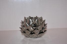 Pols potten zilver lotus waxinelichthouder / kandelaar
