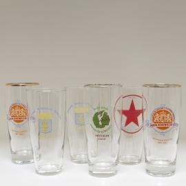 Set van 6 glazen gemeenten en partijen