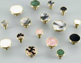 Goud metalen 'natuursteen' ladeknop / kastgreep