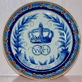 Wandbord Porceleyne Fles 1926 jubileum Wilhelmina en Hendrik