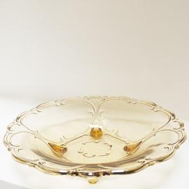 Glazen schaal op 4 pootjes geel
