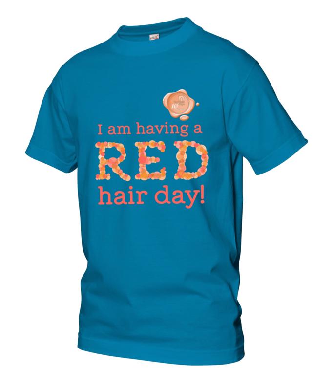 Kinder t-shirt lichtblauw met zegel 10 jaar Redhead Days