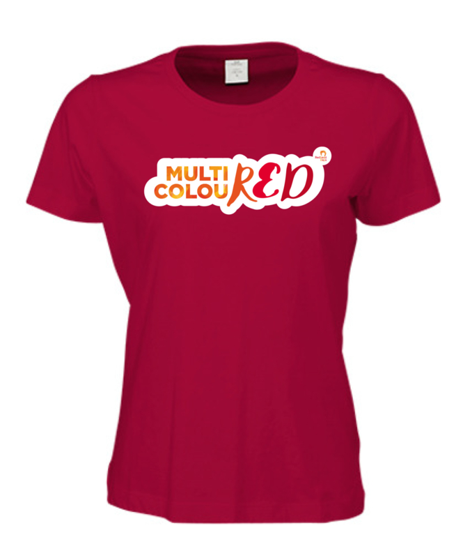 Ladies t-shirt red MULTICOLOURED