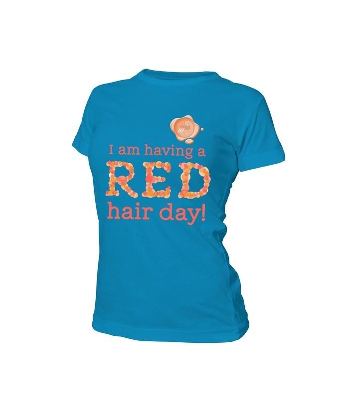 Dames t shirt lichtblauw met zegel 10 jaar Redhead Days