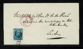 1865. 4. 5 ct. plaat I dopomslag van 's[GRAVENHAGE naar Leiden