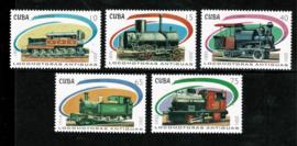 Cuba 2001. Mi. 4388/42 Antieke treinen 5 waarden **