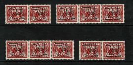 "1940. 356 a/d. Complete set strips rolzefgels ""Tralie"" guilloche opdrukken **"