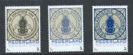 Reproductie van 3 verschillende sluitzegels Nederlandse Spoorwegen