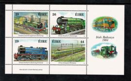 Ierland 1974. Blok 150 jaar spoorwegen **