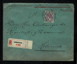 1914. ✉︎ 75 op R waardebrief van Eindhoven naar Helmond