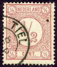 30AI  ½ ct. roze, lijntanding 14 grote gaten 1877