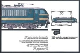 België 1985. 2174 velletje 100 jaar Spoorwegen NMBS **