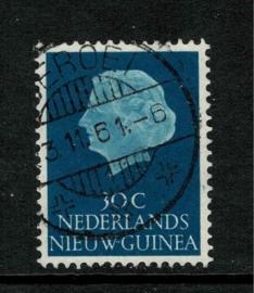 1961. 31. 30 ct. blauw met lange balkstempel Seroei (op eiland Yapen)