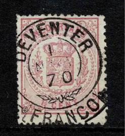 16B. 1 ½ ct. roze met Franco-takje stempel DEVENTER. Mooi fris zegel.