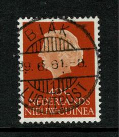 1961. 32. 40 ct. oranje met lange balkstempel Biak - Luchtpost