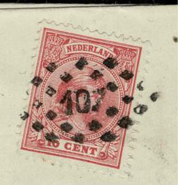 1893. 37a. 10 ct. op rekening van UTRECHT naar ROTTERDAM