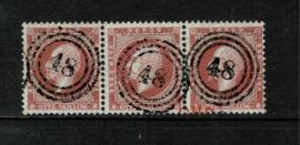 Noorwegen  1856. 5.  8 skilling karmijn in luxe strip van 3 ⦿
