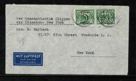 1941. 357 en 366 op couvert van BILTHOVEN naar NEW York - censuur ✈︎✉️