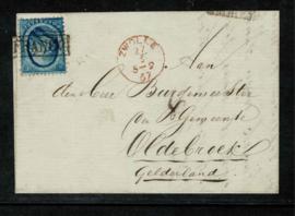 1867. 4. 5 ct. Haarlemse druk op brief van ELBURG naar  OLDEBROEK