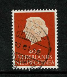 1961. 32. 40 ct. oranje met lange balkstempel FakFak