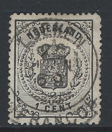 14A. 1 cent zwart. Luxe exemplaar met Franco-takje LOENEN