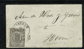 14A. ✉︎ 1 ct. zwart op minibriefje met inhoud naar Hoorn. Franco-takje FRANEKER 6 mei 1869