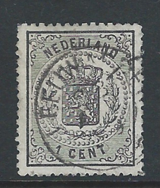 14A. 1 cent zwart. Luxe exemplaar met rondstempel LEEUWARDEN