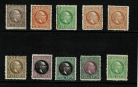 1870. 10 verschillende getande kleurproeven *