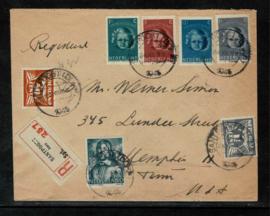 1945. Kinderzegels op R-couvert van santpoort naar USA ✉️