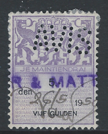 Avis  in plakzegel 382, 5 Gulden violet