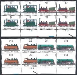 België 1985. 2170/73 in ⊞ met plaatnummers. 100 jaar Spoorwegen NMBS **