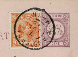 1898. 34. 3 ct. als bijfrankering op postwaardestuk