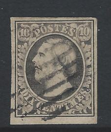1852. 1. 10 cent zwart. Luxe exemplaar
