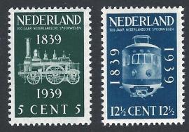 1939. 325/6 100 jaar Spoorwegen **