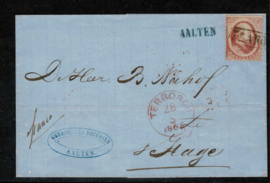 1865. 5. 10 cent op briefomslag van AALTEN naar 's-GRAVENHAGE