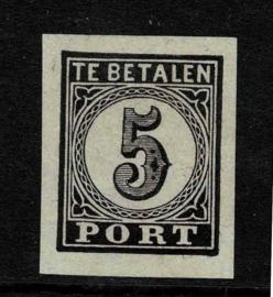 1870. Proef P.3q 10 ct. zwart op grijs papier