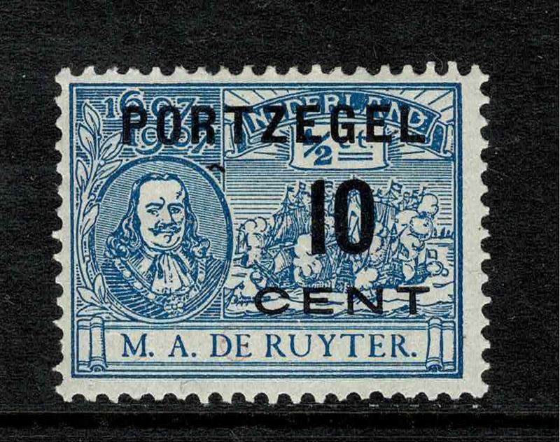 """38f. De Ruyter port. Plaatfout """"streepje door D"""" *"""