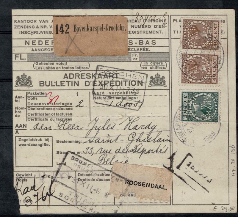 PR&Zn in 177 en 2x 196 op Postpakketkaart. 1933
