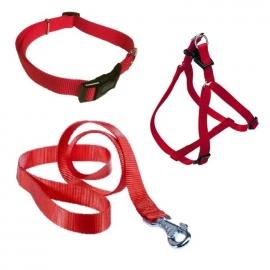 Nylon loopset rood voor grote rassen (lijn+halsband+tuigje)