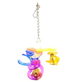 Acryl vogelspeelgoed - trio spiralen met belletjes