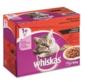 Whiskas maaltijdzakjes Vleesselectie in Saus, 12x100 gram