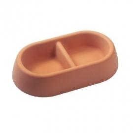 PlatePet Rocky Bowl betonnen voerbak ovaal dubbel rood - Hollandse kwaliteit!