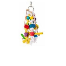 Vogelspeelgoed hout/touw/leer 25 cm