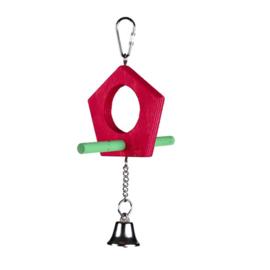 Vogelspeelgoed dubbelzijdig zitstokje met bel