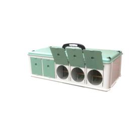 Italiaanse transportbox Porto Maxi 5-vaks met voerset en uitvliegkleppen