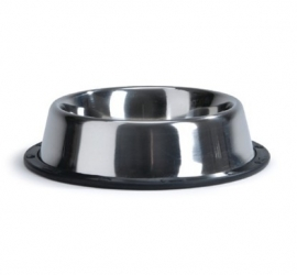 RVS voerbak / waterbak met antislip rubber