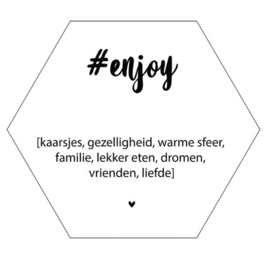Muur hexagon - Enjoy wit